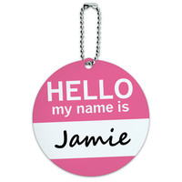 Jamie Hello My Name Is Round ID Card Luggage Tag