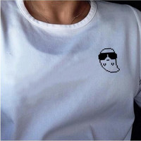 White Ghost with Sunglasses Print T-Shirt