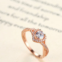 Rose Gold Plated Heart Shape Ring f