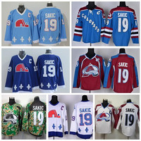 Colorado Avalanche 19 Joe Sakic Jersey Quebec Nordiques Ice Hockey Jerseys Throwback Navy Blue Red White Camo Embroidery And Sewing Logo