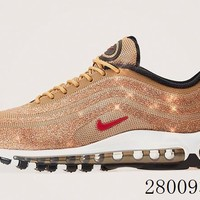 HCXX 19July 1028 Nike Air Max 97 LX Gold Swarovski 927508-700 Flyknit Breathable Running Shoes