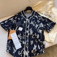Louis Vuitton LV hot sale men's and women's printed tie-dye short-sleeved shirt