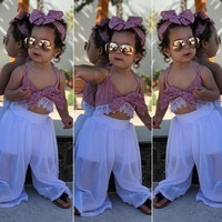 US Stock Kids Baby Girls Tank Tops Blouse+Pants Outfits Toddler Clothes Summer