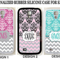 GREY CHEVRON PINK TEAL DAMASK MONOGRAM Case For Samsung Galaxy S7 S6 S5 NOTE 7 5