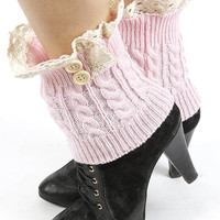 Dani Button Lace Accent Short Knit Leg Warmers in Light Pink