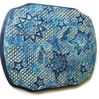 Blue and silver stars wall art, original textured painting on a wooden plaque, decorative wall art with aqua, navy and silver, galaxy art