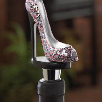 Glitter Fashion Pointed Toe Sky High Heel Shoe Wine Bottle Stopper