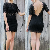Almost Famous Black Lace Zip Up Mini Dress With Open Back