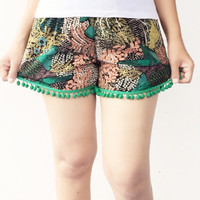 Pom Pom Shorts - Green Pom Pom with birds in forest printed on cotton - Beach Shorts - Gym Shorts