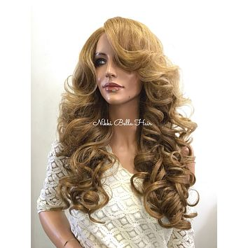 Dark Blonde Curly Human Hair Blend Deep Parting Lace Front Wig - Kelly