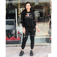Champion Newest Popular Women Casual Diamond Logo Zipper Top Pants Set Two-Piece Sportswear Black