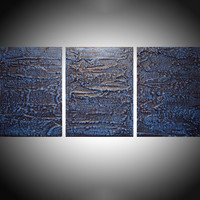 "ARTFINDER: "" Deeper shade of Blue "" triptych 3 panel wall art colorful blue tones in acrylic 3 piece panel wall abstract canvas abstraction 54 x 24"" by Stuart Wright - "" Deep Shade of Blue ""  in shades of prussian b..."