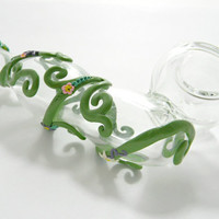 Vines and flowers- glass pipe, sidecar, free glass screen