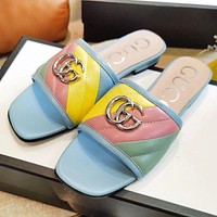 GUCCI New fashion letter multicolor flip flop slippers