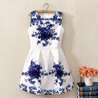 White Vintage Floral Print Sheath Sleeveless Mini A-Line Pleated Dress