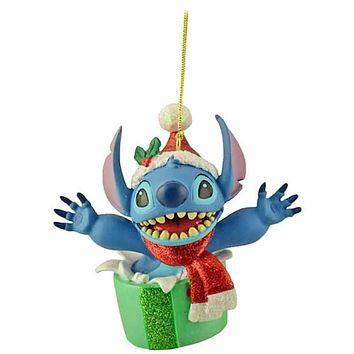 disney parks santa stitch with present christmas ornament new with tags