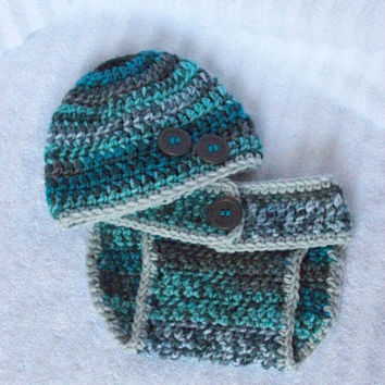 Teal Blue and Grey Crochet Baby Boy Diaper Cover and Hat Set, Crochet Diaper Cover, Baby Boy Beanie, Diaper Cover Set - Photography Prop