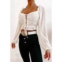 So Indecisive Tie Front Blouse (Ivory)
