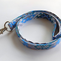 Blue Tribal Lanyard / Tribal Print / Boho Keychain / Bohemian / Blue & Gray / Key Lanyard / Tribal Print / ID Badge Holder / Fabric Lanyard