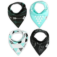 Matimati Baby Bandana Bib Set of 4, Super Absorbent Drool Bandana Bibs for Boys & Girls (Mint & Gray)