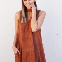 Toasted Almond Choker Suede Dress