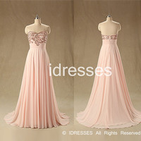 Sweetheart Neckline Crystal Partten Chiffon Long Prom Dresses 2015 Wedding Party Gown