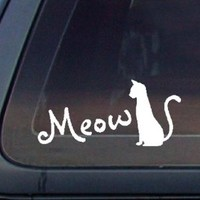 Cat Silhouette Meow for Cat Lovers Car Decal / Sticker - White