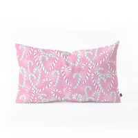 Lisa Argyropoulos Frosty Canes Pink Oblong Throw Pillow