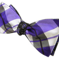 Looped Madras - Violet/Black (Reversible Bow Ties) - Wear Your Good Tie. Every Day