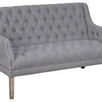 Victoria Tufted Linen Settee, Gray, Settees