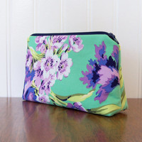 Cosmetic Bag - Amy Butler Bliss Bouquet in Emerald - Zippered Pouch - Green and Purple Bag - Medium Pouch - Floral Cotton Bag