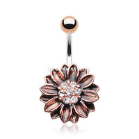 Vintage Rustica Sunflower Sparkle Belly Button Ring (Clear)
