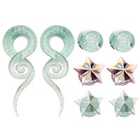 Bodyj4you 8PC 0G Glow in the Dark Glass Taper Hangers and Saddle Plugs Stretchers (10mm)