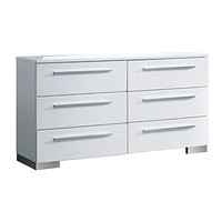 Minimal Modest Wooden Dresser In Contemporary With 6 Drawers, White By Casagear Home