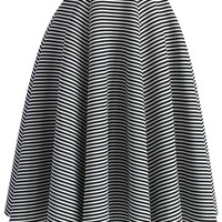 Chic Stripes Airy Full Midi Skirt Multi