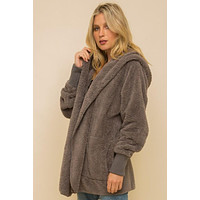 Faux Fur Plush Hooded Jacket with Pockets - Steel Grey
