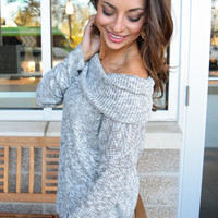 Off Shoulder Rib Knit Top Gray