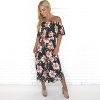 Celine Off Shoulder Floral Jumpsuit