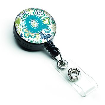 Letter Q Flowers and Butterflies Teal Blue Retractable Badge Reel CJ2006-QBR