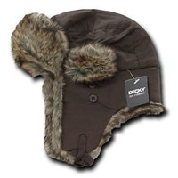 Brown Aviator Bomber Faux Fur Winter Ski Trooper Trapper Ear Flap Hat Cap L/XL