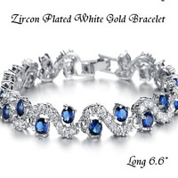 Factory Direct Low Limit Fashion Vintage Jewelry Zircon Plated White Gold Bracelet For Women White Blue = 1946107460