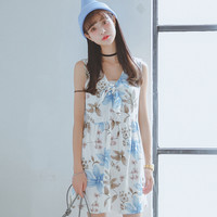 Blue Floral Neck-Tie Chiffon Mini Dress