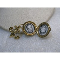 Vintage Fleur-de-Lis Locket Brooch with Bob Hope & Doris Day Photos, 1940's/1950's, 2.25""