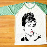 Audrey Hepburn T-Shirt Movie Shirt Green Sleeve Tee Shirt Women Tee Shirt Men T-Shirt Unisex Tee Shirt Baseball Tee Shirt Raglan Tee S,M,L