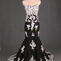 unique taffeta wedding dresses with applique lace/mermaid sweep train evening dress hot / cheap sweetheart gowns for party on sale