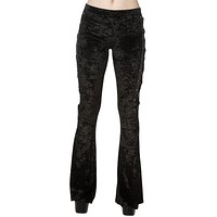 Gothic Black Crushed Velvet Side Corset Bell Bottoms Flared Pants