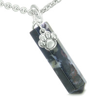 Amulet Lucky Wolf Paw Crystal Point Charm Dragon Blood Pendant 18 Inch Necklace