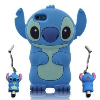 Amazon.com: 3D Blue Stitch & Lilo ipod touch 5 Soft Silicone Case Cover With 3D Stitch Stylus Pen For itouch 5g 5th Generation: Cell Phones & Accessories
