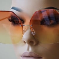 Oversized Classic Vintage Retro Style SUN GLASSES Octagon Rimless Fashion Frame