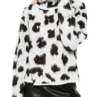 Black and White Leopard Print High Neck Knit Sweater